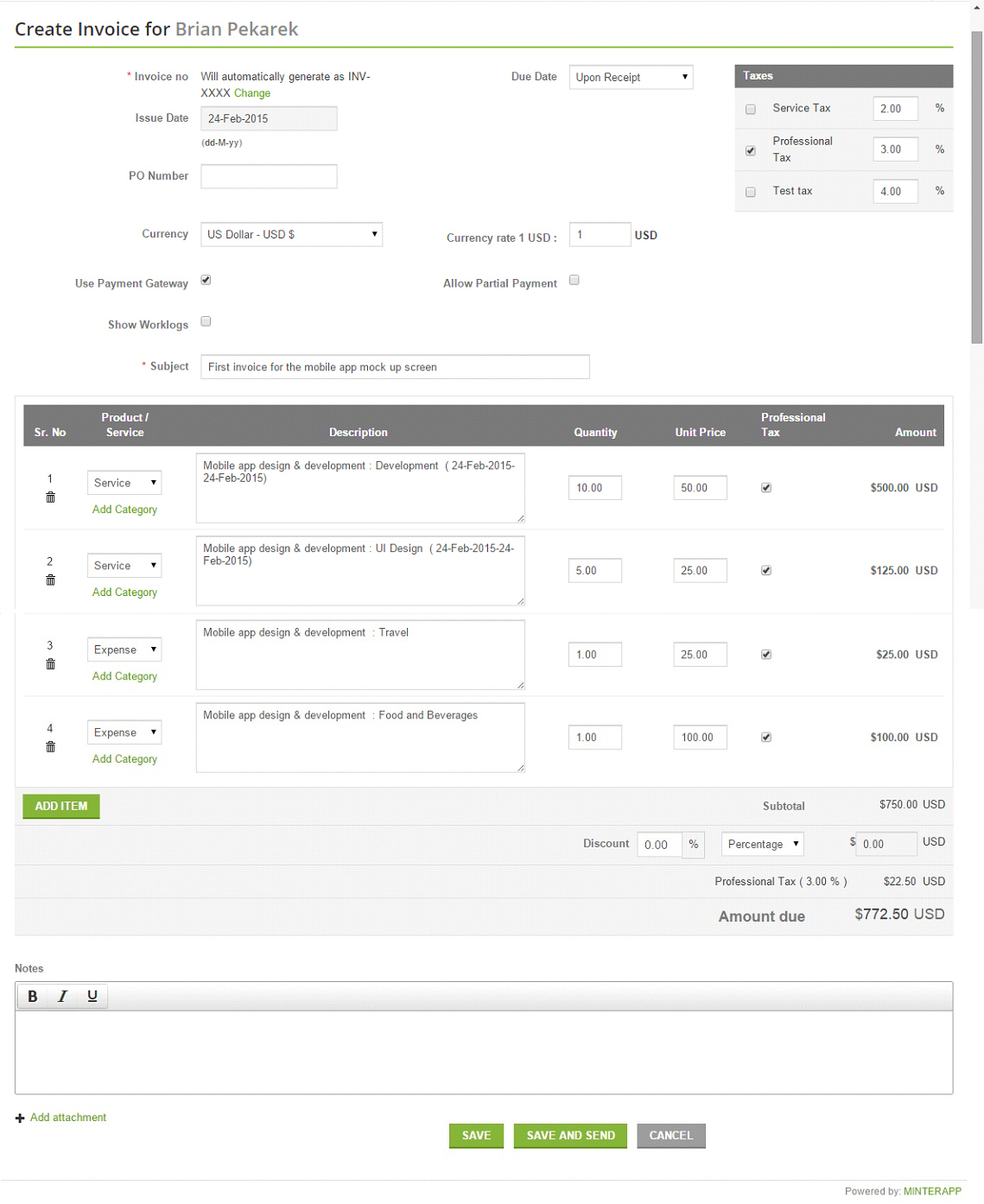 Online Invoicing Is Made Simple And Faster With Minterapp - Simple invoice generator