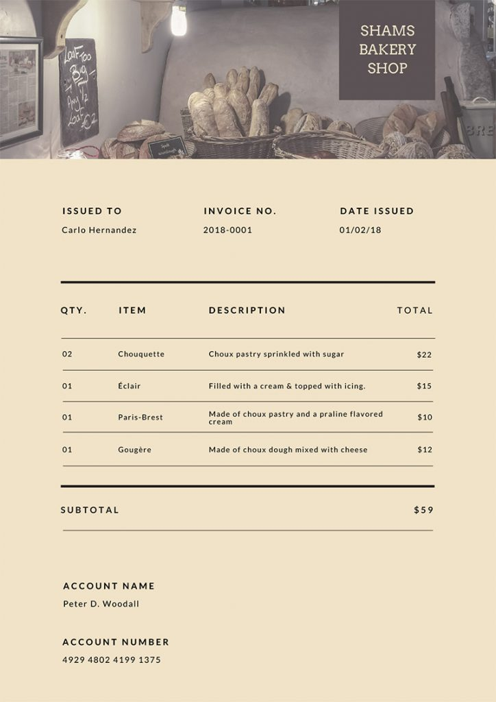 brown simple invoice templates