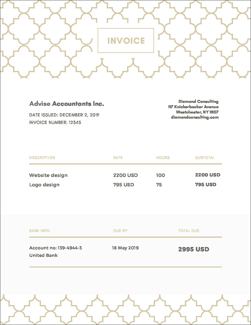 Gold Simple Invoice Templates Free Online Time Tracking And