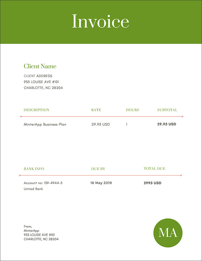 Green Simple Invoice Templates Free Online Time Tracking And