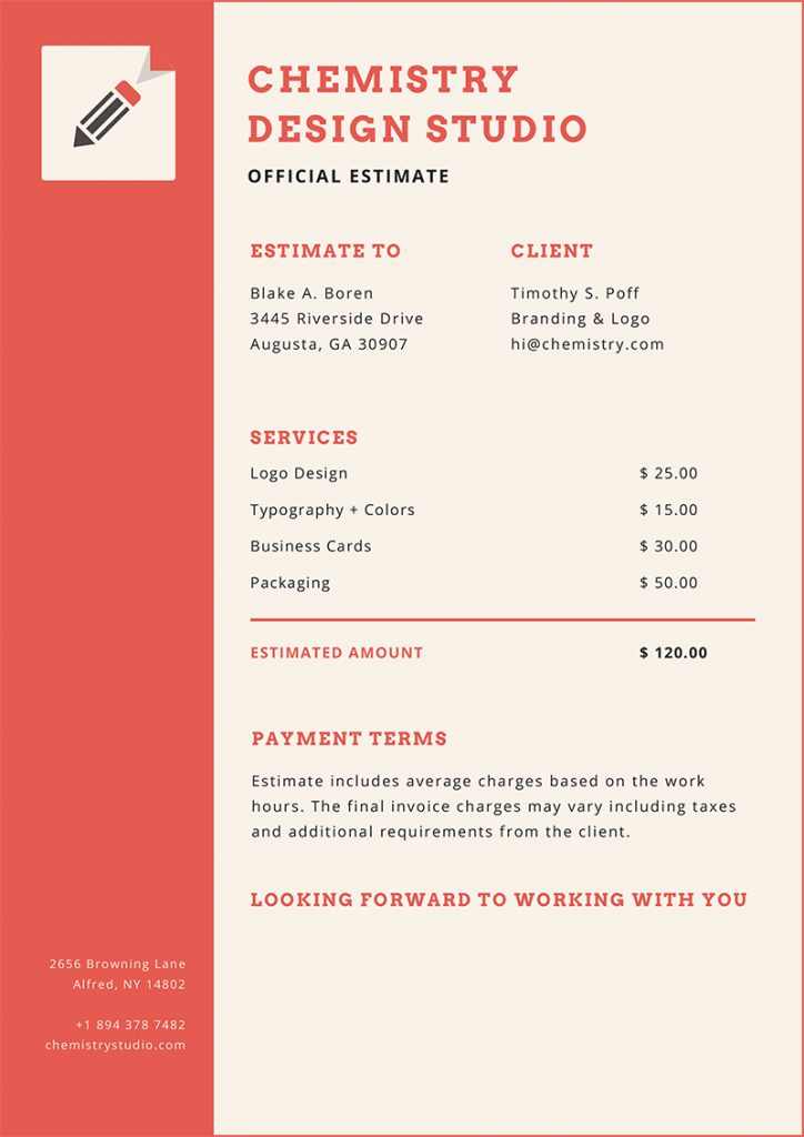 15 Simple Estimate Template Designs